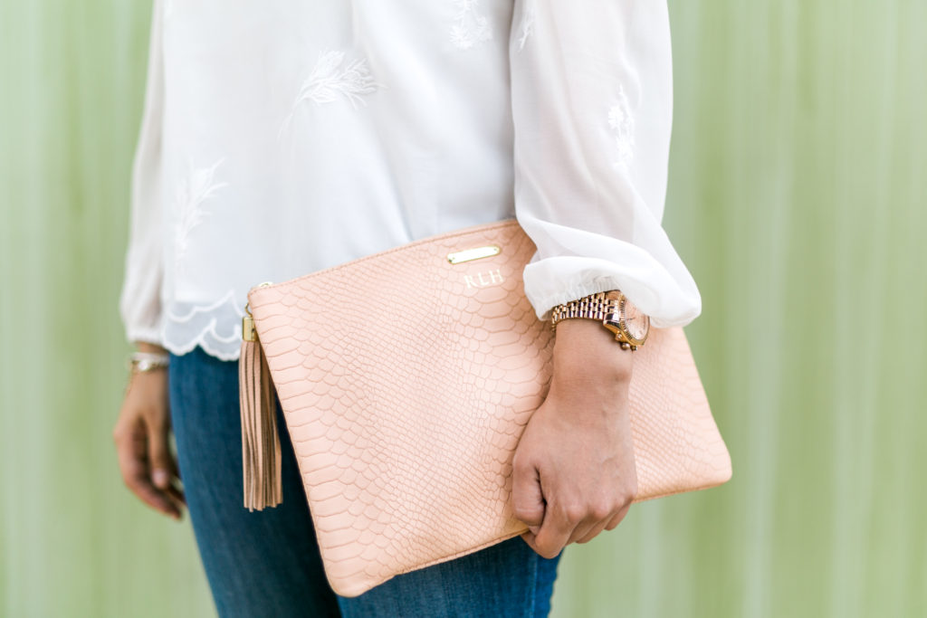 Ivory Lace Blouse and Blush Leather Clutch