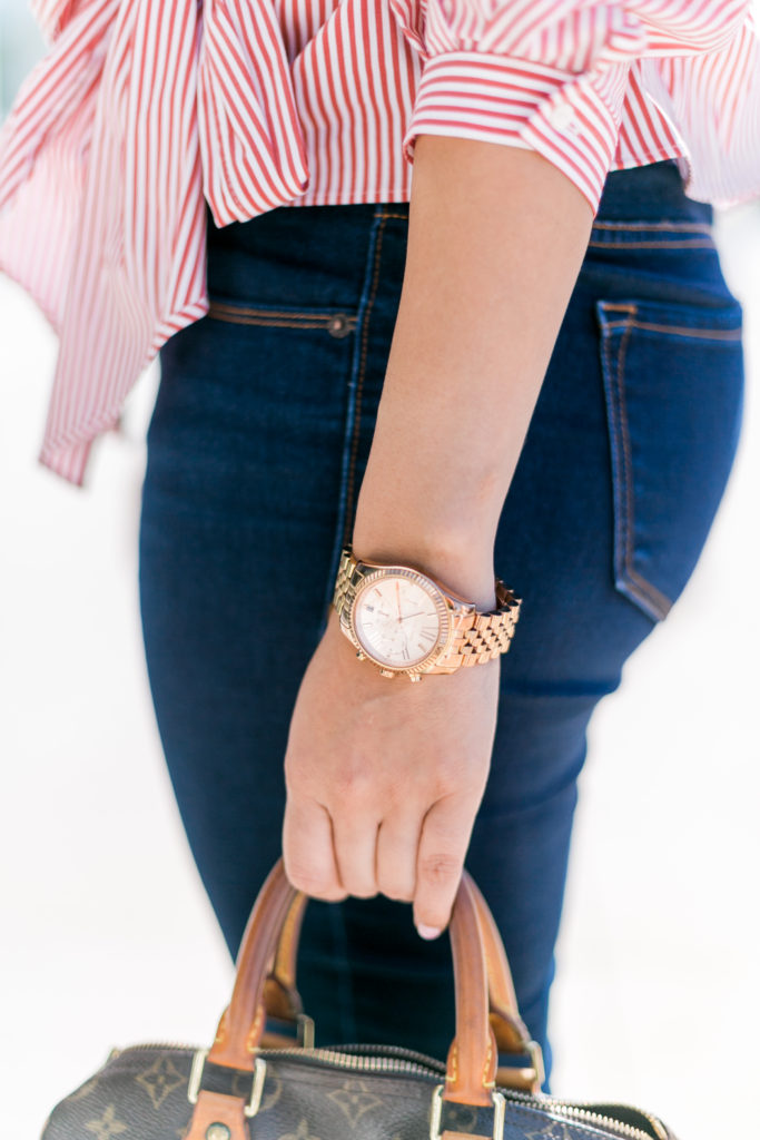 Red and white striped top with denim