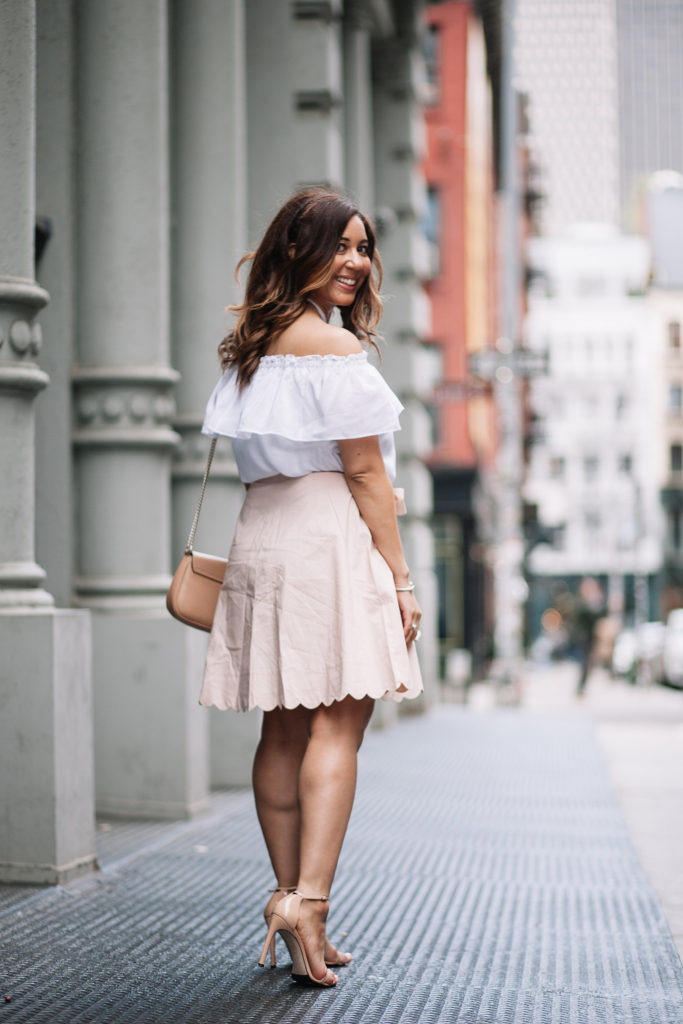 Blush Scallop Skirt and White Silk Top