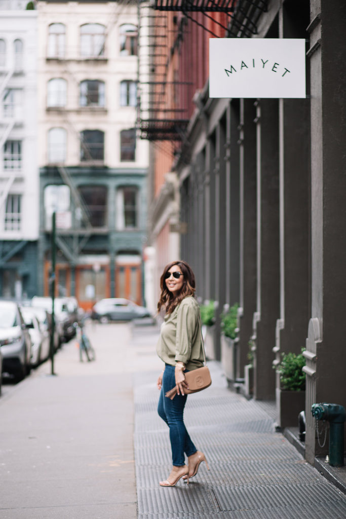 Olive Green Collared Blouse
