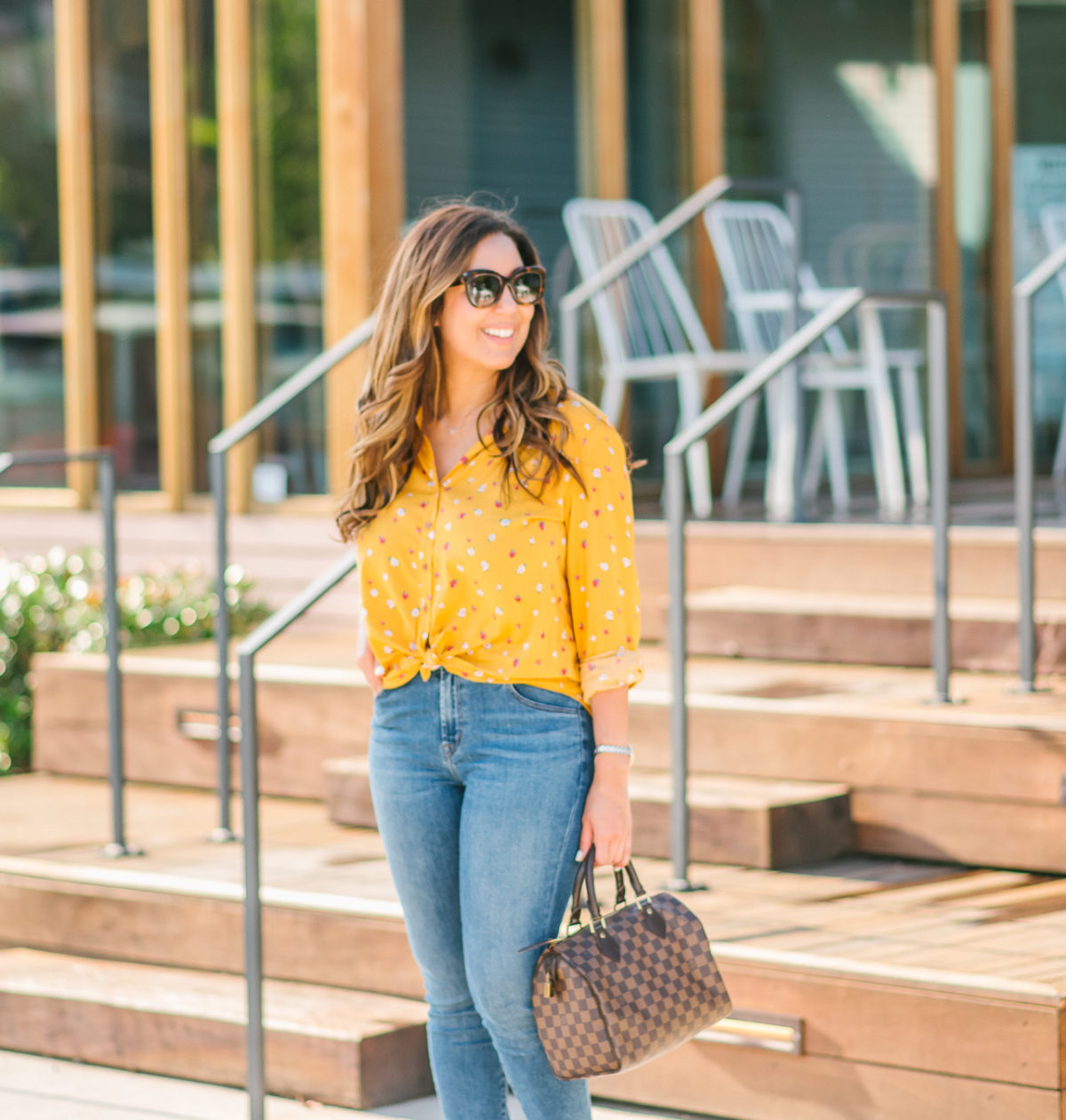 Yellow Floral Button Down